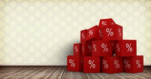 3D Percent icons on floor in room. Digital composite of 3D Percent icons on floor in room Stock Images