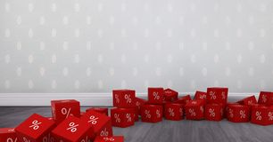 3D Percent icons on floor in room. Digital composite of 3D Percent icons on floor in room Stock Photo