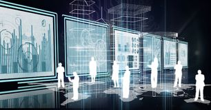 3d room with panels with graphs and people silhouettes Royalty Free Stock Image