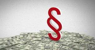 3D Section Symbol icon with money notes. Digital composite of 3D Section Symbol icon with money notes Royalty Free Stock Photos