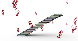 3D Section symbol icons and book staircase. Digital composite of 3D Section symbol icons and book staircase Stock Image