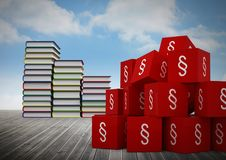 3D Section symbol icons and book towers stacked. Digital composite of 3D Section symbol icons and book towers stacked Royalty Free Stock Photo
