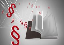 3D Section symbol icons and book turning pages. Digital composite of 3D Section symbol icons and book turning pages Stock Photo