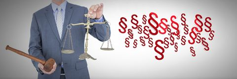 3D Section symbol icons and judge holding gavel and justice balance scales. Digital composite of 3D Section symbol icons and judge holding gavel and justice Stock Photos