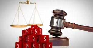 3D Section symbol icons and justice gavel with balance scales. Digital composite of 3D Section symbol icons and justice gavel with balance scales Stock Photo