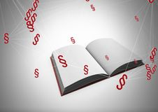 3D Section symbol icons and open book. Digital composite of 3D Section symbol icons and open book Stock Photo