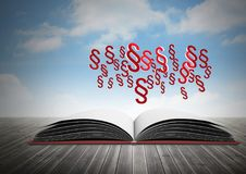 3D Section symbol icons and open book with sky. Digital composite of 3D Section symbol icons and open book with sky Stock Photo