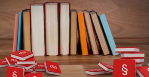 3D Section symbol icons and row of books. Digital composite of 3D Section symbol icons and row of books Stock Photos