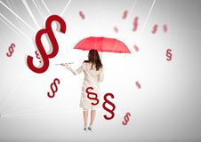 3D Section symbol icons and woman holding open book and umbrella. Digital composite of 3D Section symbol icons and woman holding open book and umbrella Stock Image
