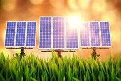 Digital composite of 3d solar panel Stock Photo