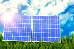 Digital composite of 3d solar panel Stock Images