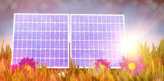 Digital composite of 3d solar panel Royalty Free Stock Photo