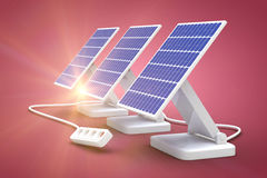 Digital composite of 3d solar panel Royalty Free Stock Images