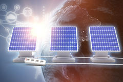 Digital composite of 3d solar panel Stock Images