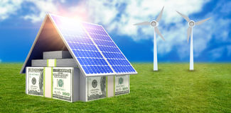 Digital composite of 3d solar panel Royalty Free Stock Photos