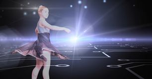 Dancer with digital connection glow. Digital composite of Dancer with digital connection glow Royalty Free Stock Photography