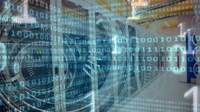 Server room with binary code. Digital composite of data server room against animated background with binary code in the screen stock video footage