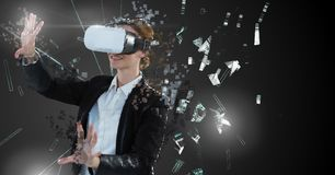 Deconstructing smashing pixel virtual reality woman royalty free stock photo