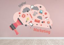 Digital marketing cloud graphics in pink room. Digital composite of Digital marketing cloud graphics in pink room Stock Photo