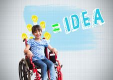 Disabled girl in wheelchair with colorful idea graphics royalty free stock images