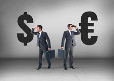 Dollar or Euro with Businessman looking in opposite directions Stock Photo