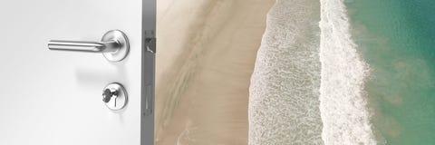 Door opening onto beach. Digital composite of Door opening onto beach royalty free stock photos