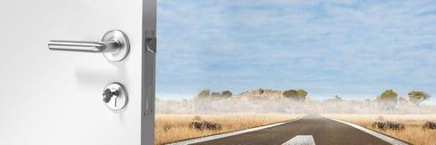 Door opening onto road. Digital composite of Door opening onto road stock photos