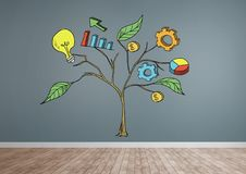 Drawing of Business graphics on plant branches on wall. Digital composite of Drawing of Business graphics on plant branches on wall Stock Photo