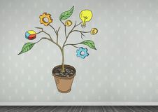 Drawing of Business graphics on plant branches on wall. Digital composite of Drawing of Business graphics on plant branches on wall Royalty Free Stock Photos