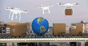 Drones delivering parcel boxes from conveyor belt over city. Digital composite of Drones delivering parcel boxes from conveyor belt over city royalty free stock images
