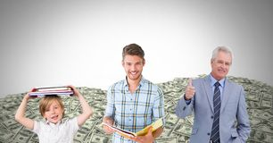 Educated men of age generations growing up with money dollars Stock Images