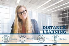 Education and distance learning text and icons and woman sitting. Digital composite of Education and distance learning text and icons and woman sitting stock image