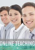 Education and online teaching text and people smiling Royalty Free Stock Images