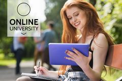 Education and online university text and woman looking at a tablet Royalty Free Stock Photo