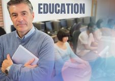 Education text and University teacher with class. Digital composite of Education text and University teacher with class Royalty Free Stock Photos