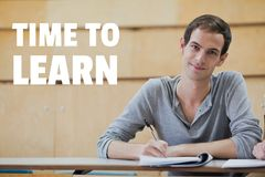 Education and time to learn text and man sitting in a class Royalty Free Stock Photo