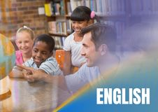 English text and Elementary school teacher with class Royalty Free Stock Image