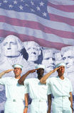Digital composite: Ethnically diverse American sailors, American flag, Mt. Rushmore Stock Photos