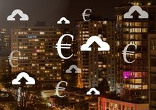 Euro and upload icons in city. Digital composite of Euro and upload icons in city Royalty Free Stock Images
