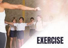 Exercise text and Physical education teacher with class Royalty Free Stock Images