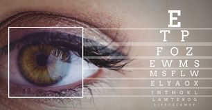 Eye focus box detail and lines and Eye test interface Stock Image