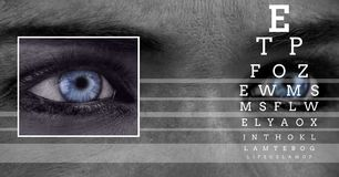 Eye focus box detail and lines and Eye test interface Royalty Free Stock Image