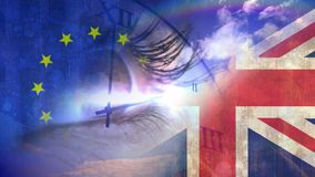 Eye opening Video. Digital composite of Eye opening against ticking clock and EU and british flag video royalty free illustration