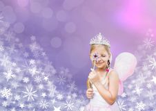 Fairy princess frozen girl and Snowflake Christmas patterns. Digital composite of Fairy princess frozen girl and Snowflake Christmas patterns Stock Photos