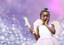 Fairy princess girl and Snowflake Christmas patterns. Digital composite of Fairy princess girl and Snowflake Christmas patterns Stock Images
