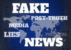 Fake news and associated text over world map. Digital composite of Fake news and associated text over world map Royalty Free Stock Photography