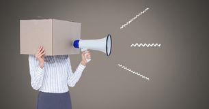 Fake news text and cardboard head using megaphone with illustrations. Digital composite of Fake news text and cardboard head using megaphone with illustrations Stock Photography