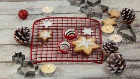 Falling snow with Christmas food. Digital composite of Falling snow with Christmas food
