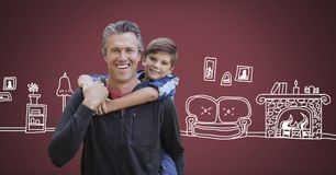 Father and son with home drawings. Digital composite of Father and son with home drawings Royalty Free Stock Photo