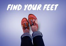 Find your feet text and Red shoes on feet with purple background Royalty Free Stock Image